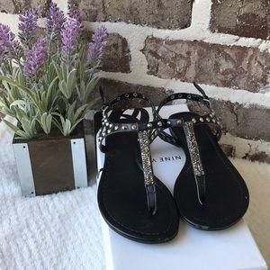 Nine West Black Flat Sandals Size 5M